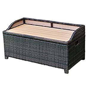 Tangkula Wicker Deck Box 60 Gallon Patio Outdoor Pool Rattan Container Storage Box Bench Seat