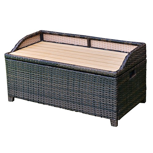 Tangkula Wicker Deck Box 50 Gallon Patio Outdoor Pool Rattan Container Storage Box Bench Seat by Tangkula
