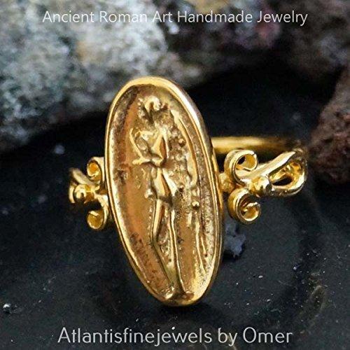 (Handmade Roman Art Designer Coin Ring By Omer 24k Yellow Gold over 925k)