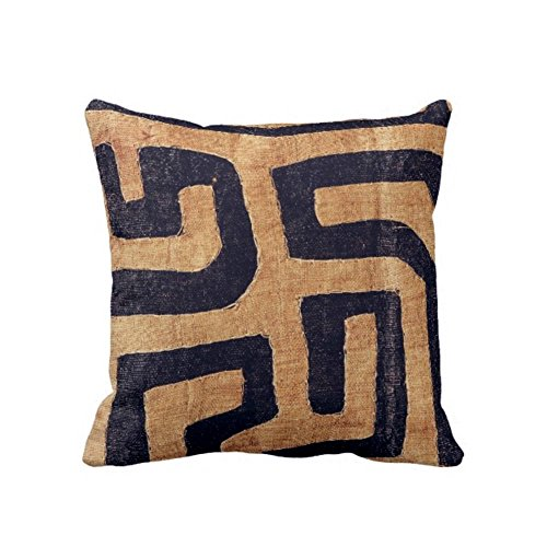 READY TO SHIP Kuba Cloth Printed Throw Pillow Case Cover Cover BrownBlack 16 or 20 Sq Covers GeometricAfricanTribalBohoDesign CamelTan