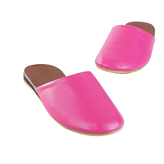 Amazon.com | TELLW Men Women Spring Summer Autumn Couples Cowhide Home Slippers Leather Slippers Wooden Floor Rug Slippers | Slippers