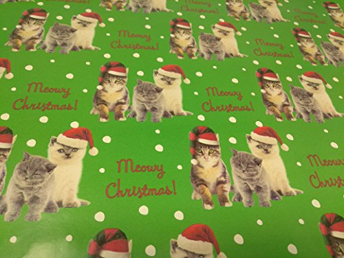 Christmas Wrapping Holiday Paper Gift Greetings 1 Roll Design Festive Wrap Cat Green (Halloween Cat Printable Coloring Pages)