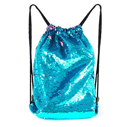 seeknfind Mermaid Sequin Bag Reversible Sequin Drawstring Backpack Glitter Bag for Girls (blue-pink) -