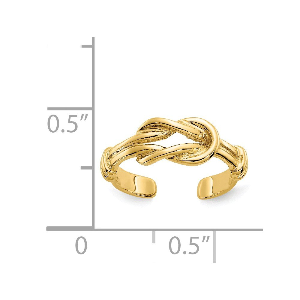 14k Yellow Gold Love Knot Adjustable Cute Toe Ring Set Fine Jewelry Gifts For Women For Her
