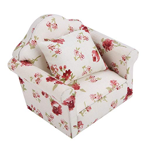 Jadpes Dollhouse Furniture Sofa Set,1/12 Scale Miniature Living Flower Pattern Sofa Set with Back Cushions Pillow Accessories for Baby Children Halloween Christmas Birthday Gift(#1)
