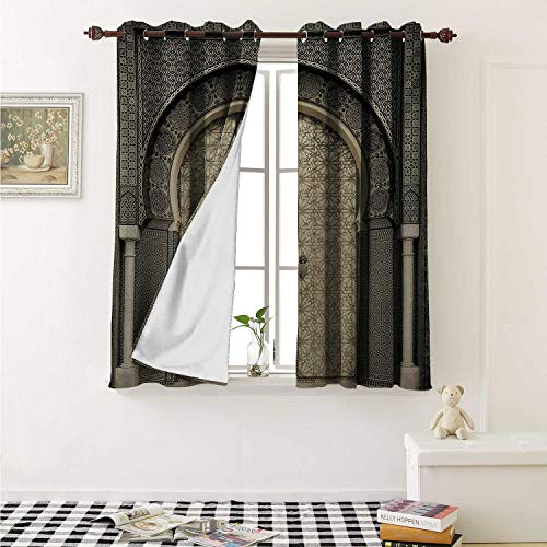 - shenglv Moroccan Blackout Draperies for Bedroom Aged Gate Geometric Pattern Doorway Design Entrance Architectural Oriental Style Curtains Kitchen Valance W72 x L63 Inch Sepia Black