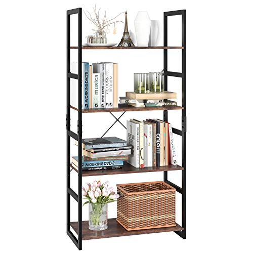 Furniture Distinctive Accents - Homfa Bookshelf Rack 4 Tier Vintage Bookcase Shelf Storage Organizer Modern Wood Look Accent Metal Frame Furniture Home Office