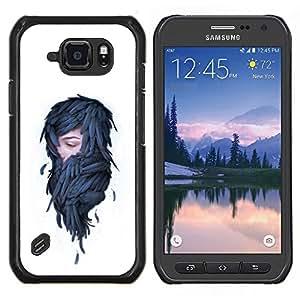 Qstar Arte & diseño plástico duro Fundas Cover Cubre Hard Case Cover para Samsung Galaxy S6Active Active G890A (Mujer en plumas - Pop Art)
