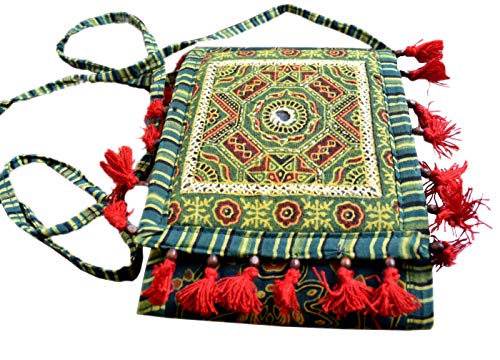 GiftPiper Ajrakh Print Purse With Embroidery Tassels Green