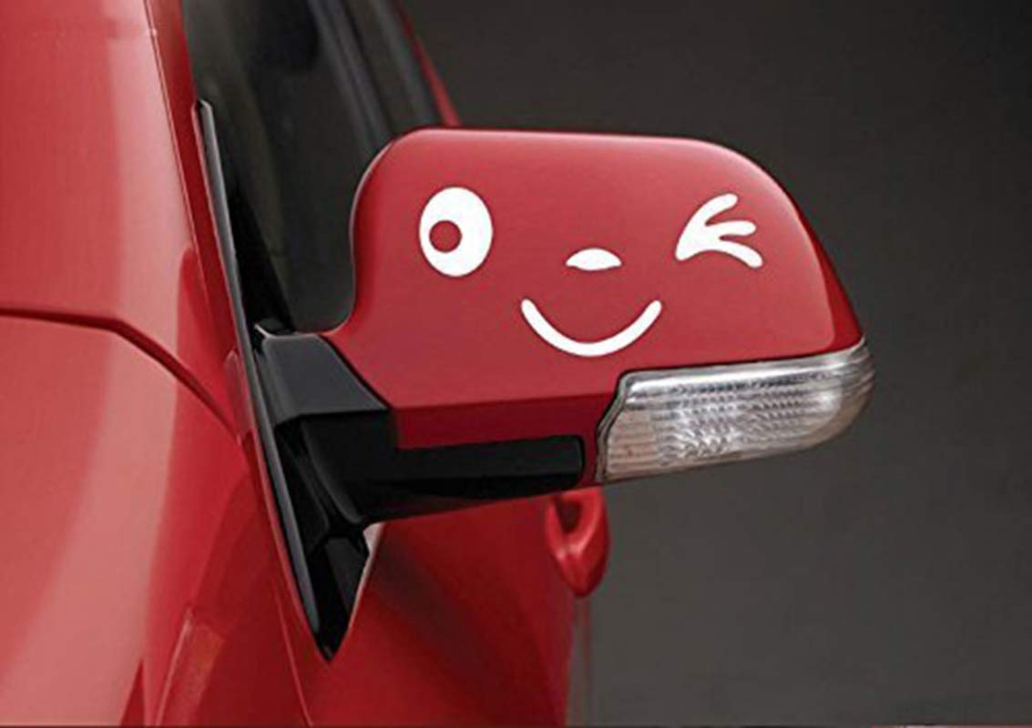 Yonger 2 X Cute Smile Face 3D Decal Sticker for Auto Car Side Mirror L+R Rearview White by Yonger (Image #7)
