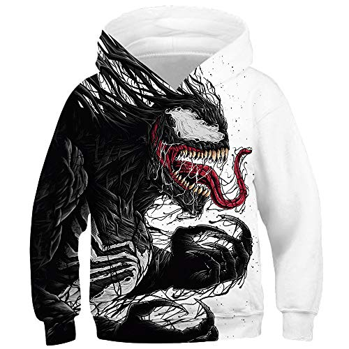TAKUSHI HF Teen Boys Girls Fashion 3D Printed Galaxy Long Sleeve Pullover Hoodies Hooded Sweatshirts with Pocket 6-13Y (Venom, M(8-11 Years))