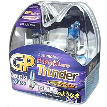 GP Thunder H3 8500K 55W Xenon Plasma White Quartz Glass Bulbs (Ion coating) for Fog Light -High Beam - Low Beam BMW AUDI LEXUS HONDA TOYOTA SGP85K-H3