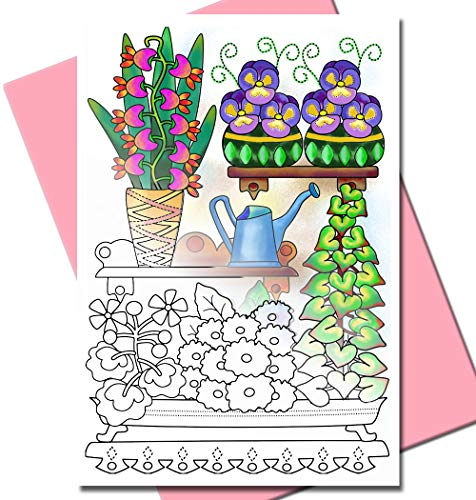 Art Eclect Adult Coloring Greeting Cards for Birthdays and Thank You Note Cards | 10 Unique Designs to Color and Send | With Envelopes Included | From The Garden - Pink