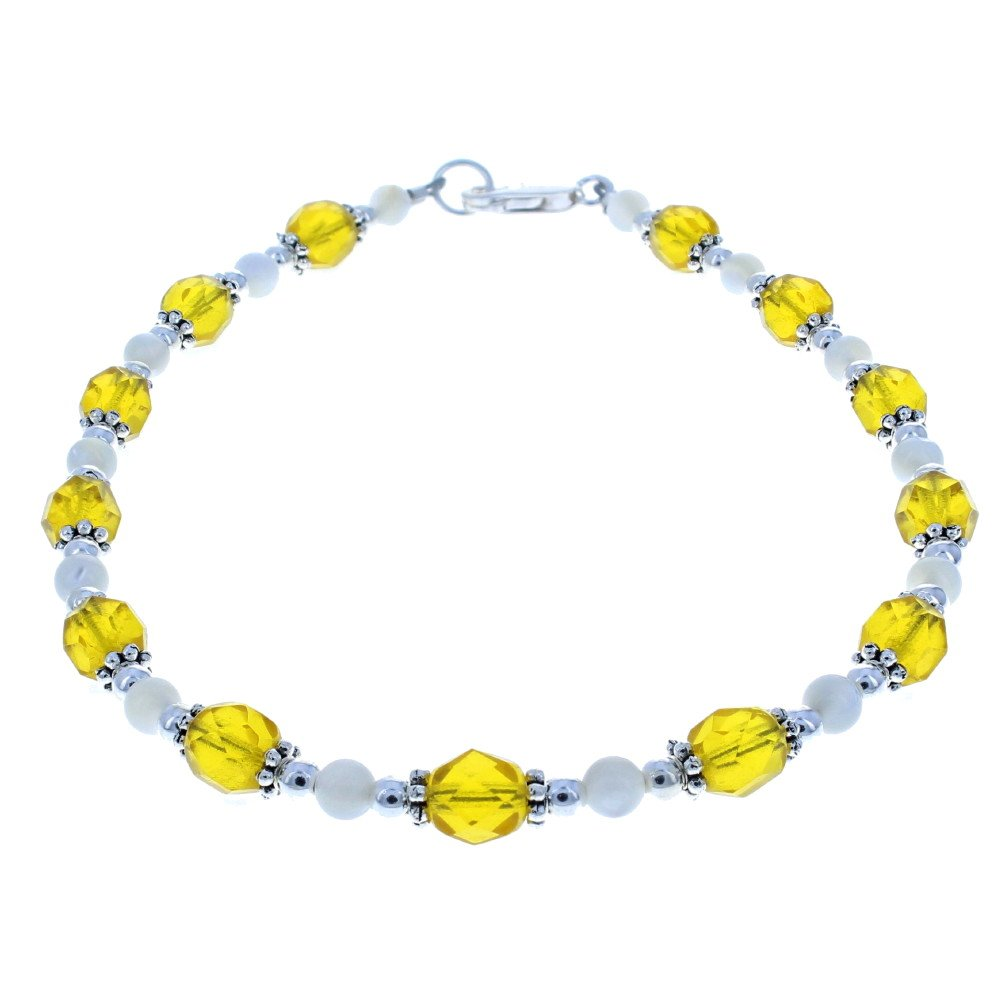 Timeless-Treasures Womens Yellow Czech Fire Polished Glass, Mother of Pearl & Sterling Beaded Anklet with Daisies - 12''