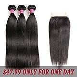 Brazilian Straight Hair With Closure 3 Bundles Unprocessed Virgin Human Hair Bundles With