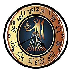 Zodiac Virgo, Circle with Twelve Sign and Fantasy Woman Holding Wheat,Wall Clock Nice For Gift or Office Home Unique Decorative Clock Wall Decor 10in with Frame, Dark Blue Cinnamon Pale Yellow