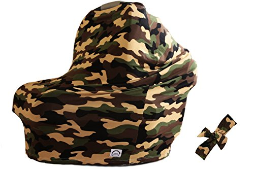 Camo 100% Organic Bamboo Nursing Cover and Free Matching Bow - Best Multi-Use Cover for Sensitive Skin, Car Seat Canopy, and Gifting