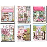 Pink Paris Girl Wall Art, Set of 6, Personalized With Girl's Name, Adorable Fine Art Prints, 6 Sizes, Unframed