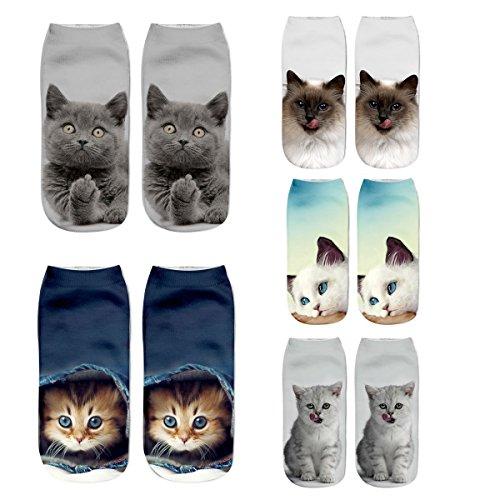 (LANSHULAN Women Girls Cute Cat Unicorn Christmas Ankle 3D Socks Set (Cat-5 Pack))