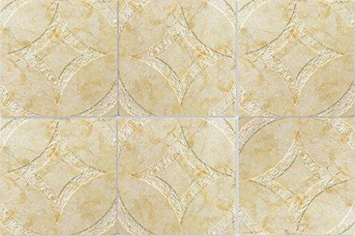 4x4 Circa Design Hand-Carved Pattern Jerusalem Stone Tile Decorative Accent (Jerusalem Tile)