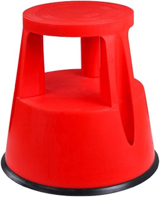 CAIJUN Taburete De Escalera PP Plástico Escalera De 2 Escalones Multifunción Diseño De Polea Portátil Montaje Antideslizante Casa, 4 Colores Doble Uso (Color : Red, Tamaño : 43x41.5cm): Amazon.es: Hogar