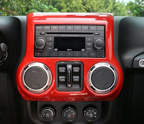 Opar Red Center Console Cover Trim for 2011 - 2018 Jeep JK Wrangler & Unlimited