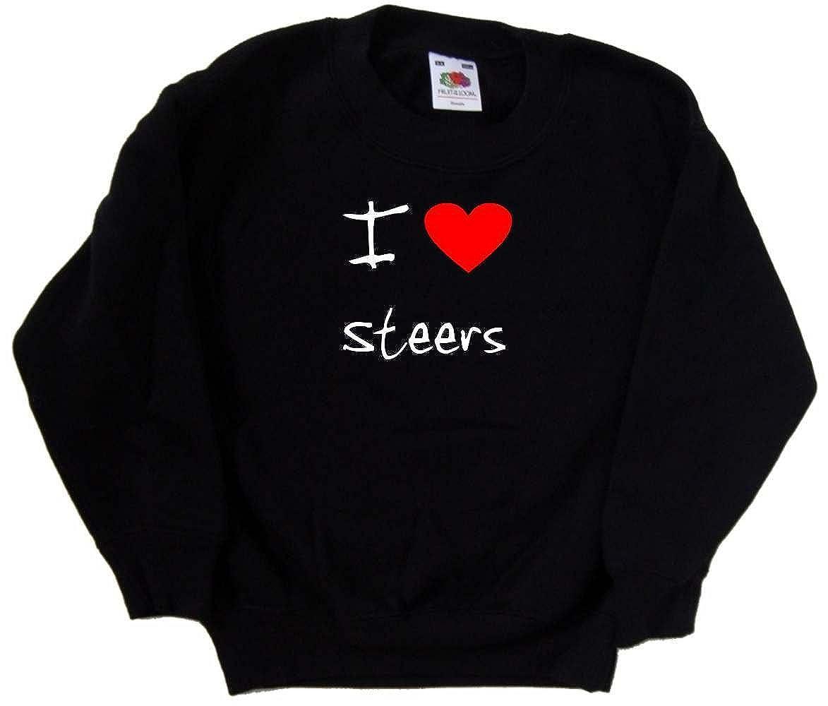 I Love Heart Steers Black Kids Sweatshirt