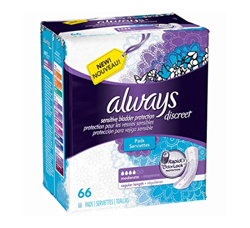 Always Discreet, Incontinence Pads, Moderate, Regular Length, 66 Count