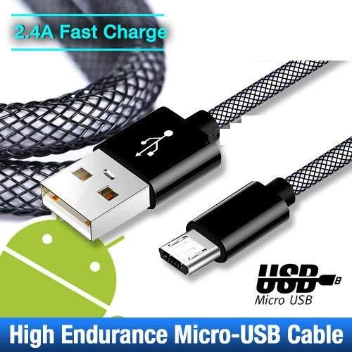 Micro USB Cable Android Sync Charger High Speed Fast Charging Braided Nylon Cable for Samsung, Nexus, Kindle, HTC, LG, Sony,Android Smartphones (6.5Ft (1 Pack)) ()