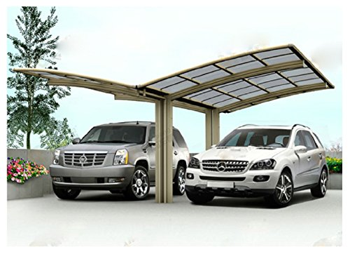 20' x 20' Double Carports Metal Carport Tent Garage Canopy Aluminum Carport Durable With Gutter Metal Vehicle Shelter for Car, RV, Yacht and Copter, Also Is Luxury Patio (Vehicle Shelter)