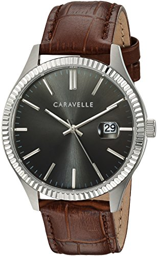 Caravelle Men's Quartz Stainless Steel and Leather Watch, Color:Brown (Model: ()