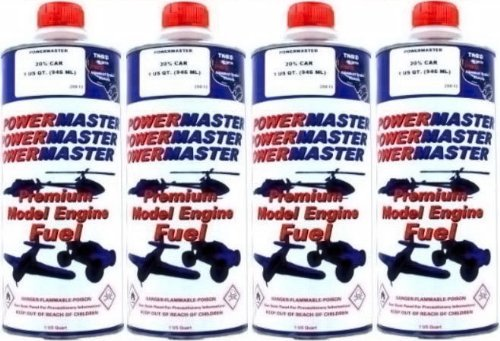 POWER MASTER ~ FOUR Quarts of 20% Nitro Fuel ~ Premium Model Engine Fuel by Power Master