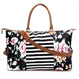 Floral Stripe Duffle Weekender Bags For Women Travel Tote Bag Large Shoulder Bags Weekend Overnight Bags: more info