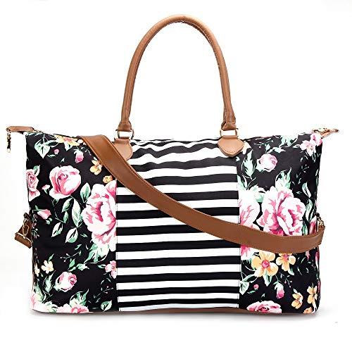 (Floral Stripe Duffle Weekender Bags For Women Travel Tote Bag Large Shoulder Bags Weekend Overnight Bags)