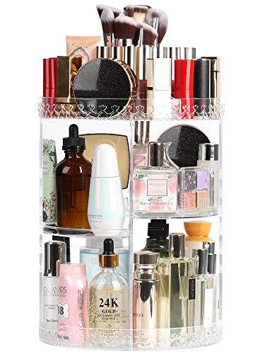 Syntus Rotating Makeup Organizer, 360 Adjustable Cosmetic Carousel Spinning Holder Rack, Large Capacity Makeup Storage…
