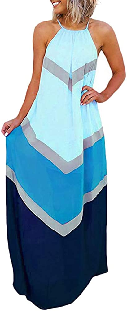 Women's Halter Striped Color Patchwork Pleated Back Hollow Out Beach Holiday Maxi Long Dresses