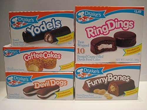 Drake's Variety Bundle - Yodels, Ring Dings, Devil Dogs, Funny Bones, and Coffee Cakes