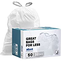 Plasticplace Trash Bags │simplehuman (x) Code J Compatible (50 Count)│White Drawstring Garbage Liners 10-10.5 Gallon…