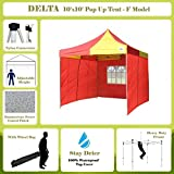 10'x10′ Pop up 4 Wall Canopy Party Tent Gazebo Ez Red/Yellow – F Model Upgraded Frame By DELTA Canopies