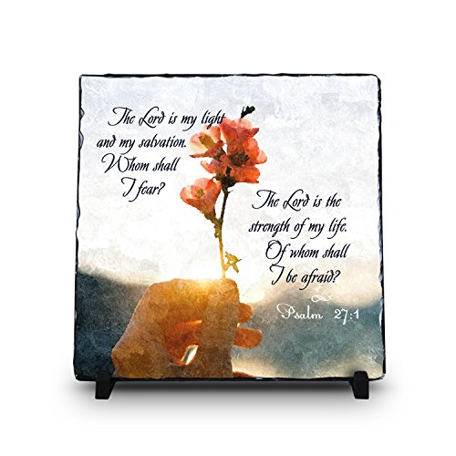 The Lord Is My Light And My Salvation Psalm 27:1 (11.5X11.5) | Superior Religious Inspirational Home Décor By Inspiragifts Polished Slate | Christian Home Plaque Stone Gift Review
