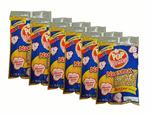 Pop Weaver Naks Pak 10.6 OZ Butter Flavored Coconut Oil and Popcorn Packs for 8 oz Popper Popping Maching- 6 PACK