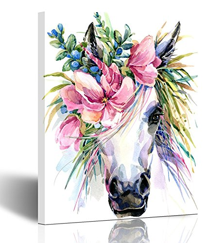 Emvency Painting Wall Art Canvas Print Square 16x20 Inches Illustration Watercolor Unicorn White Horse in Flower Wreath Decoration Wooden -