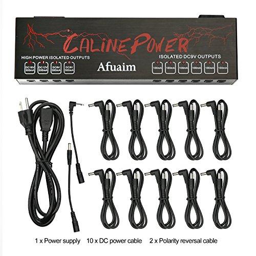 Afuaim Guitar Pedal Power Supply Aluminium Alloy 10 Powerful True Isolated DC Output for 9V 12V 18V Effects Pedalboard by Afuaim