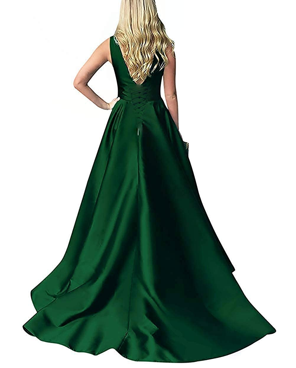 ANGELWARDROBE Satin Off The Shoulder Formal Evening Dress for Women Long Party Prom Ball Gown