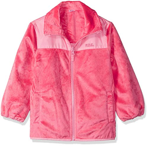 (London Fog Girls' Toddler Reversible Fleece-to-Poly Jacket, Coral, 3T)