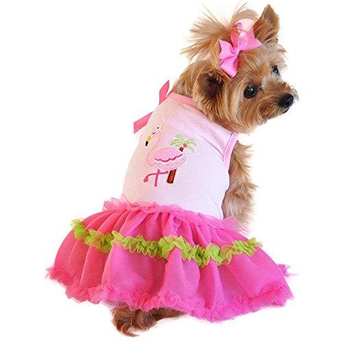 Doggie Design Flamingo and Palm Tank Designer Dog Dress (M)