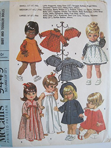 McCall's Pattern 9449 Wardrobe for Chubby Baby and Toddler Dolls Size Large (19