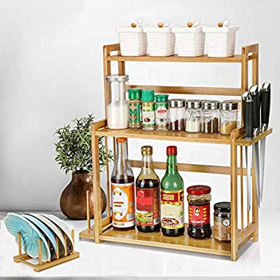 Bamboo Spice Rack, 3-Tier Standing Rack Seasoning Bottle Holder Shelf with Knife Block Cutting Board Rack and Dish Rack, Countertop Storage Organizer for Kitchen Bathroom