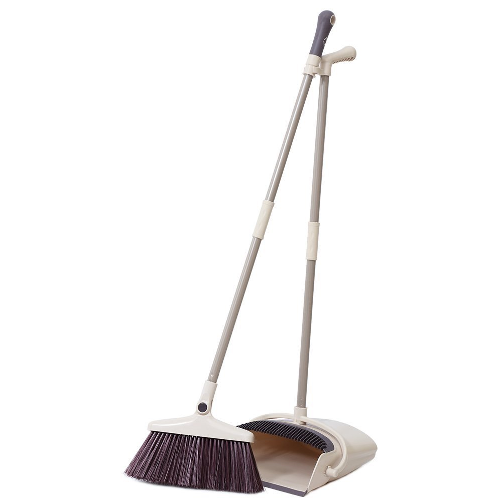 Rotatable Broom and Dustpan Set Standing Upright Grips Sweep Set with Lobby Broom Combo Set for Home Kitchen Room Office Lobby Floor