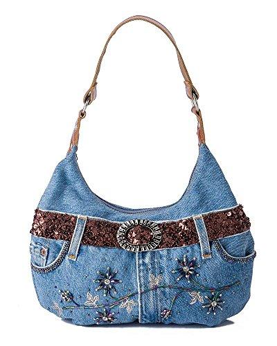 N&B Women's Cross Body Bag blue BLUE 33 x 22,5 x 9 cm